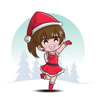 Leuk meisje op kerstman kostuum., stripfiguur.