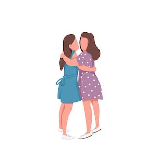 Leuk meisje paar egale kleur anonieme karakters. romantische relatie