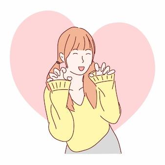 Leuk meisje poseren als kat of tijger. hand getekend platte vector tekenstijl.