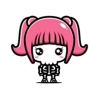 Leuk meisje schedel karakter