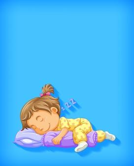 Leuk meisje slapen stripfiguur geïsoleerd