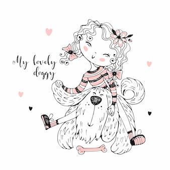 Leuk meisje speelt met haar ruige vriend doggie.