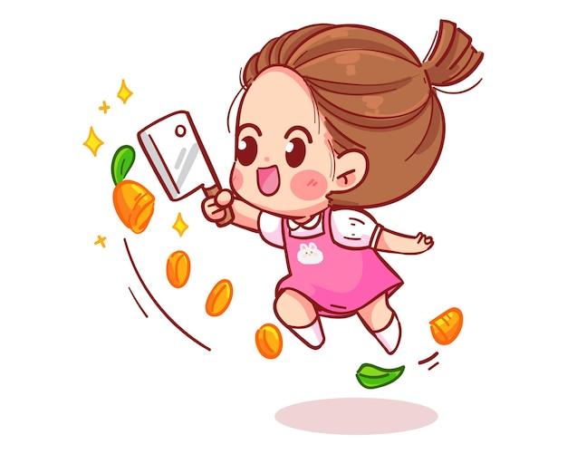 Leuk meisje springen gesneden wortelen cartoon kunst illustratie