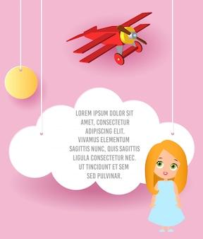Leuk meisje stripfiguur. vectordocument kunst van wolk en vliegtuig die in de hemel vliegen. sjabloonreclame.