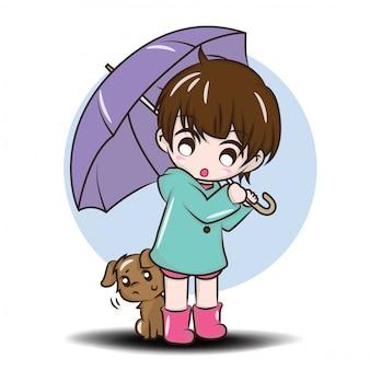Leuk meisje tijdens het regenseizoen