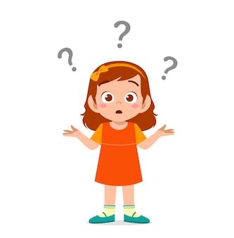Leuk meisje toont verwarde uitdrukking met vraagteken
