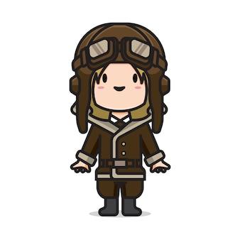 Leuk meisje vintage piloot