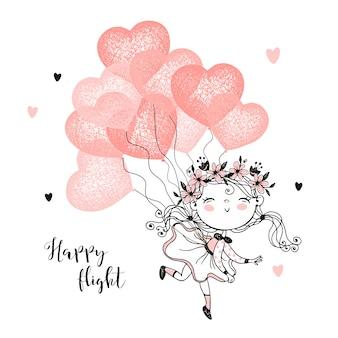 Leuk meisje vliegen op ballonnen in de vorm van een hart.