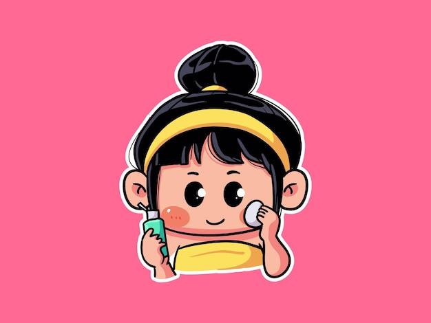 Leuk meisje wast en spoelt gezicht met zoet water voor huidverzorging routine manga illustratie