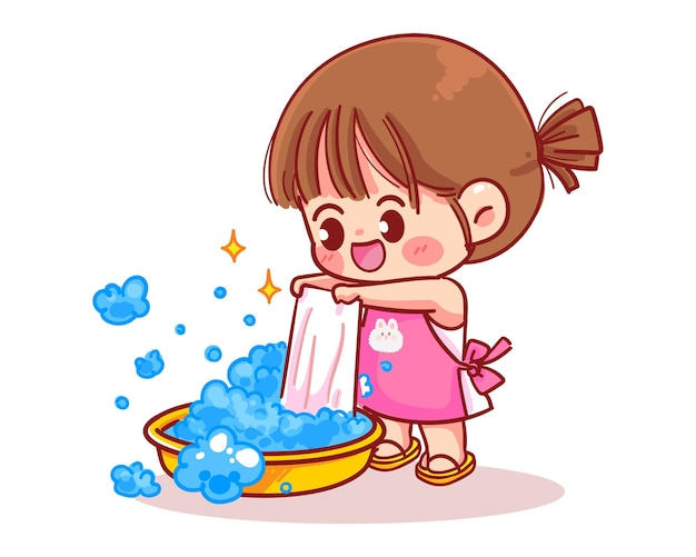 Leuk meisje wast kleren cartoon kunst illustratie