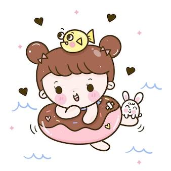 Leuk meisje zwemmen vector vis en konijn cartoon
