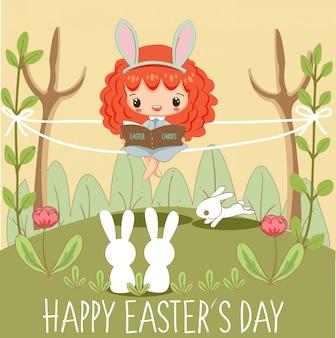 Leuk meisjes die boek voor konijntjes voor de kaart van de dag van pasen lezen