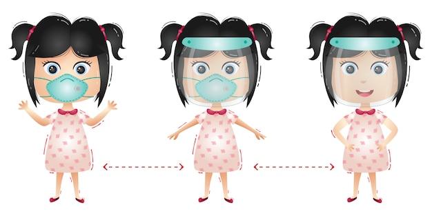 Leuk meisjeskarakter dat gezichtsschild en masker gebruikt