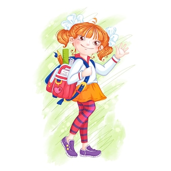Leuk meisjesschoolmeisje met een aktentas.