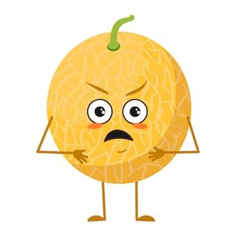 Leuk meloenkarakter met boze emoties, gezicht, armen en benen. de grappige of knorrige voedselheld, fruit. platte vectorillustratie