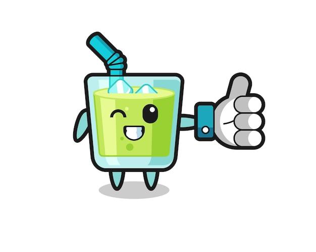 Leuk meloensap met social media thumbs up symbool, schattig stijlontwerp voor t-shirt, sticker, logo-element