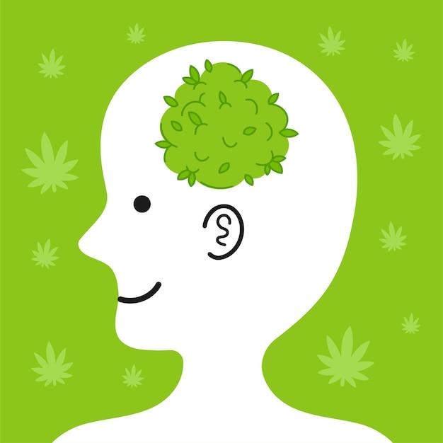 Leuk menselijk hoofd in profiel met marihuanaknop erin.