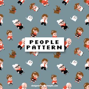 Leuk mensenpatroon met vlak ontwerp