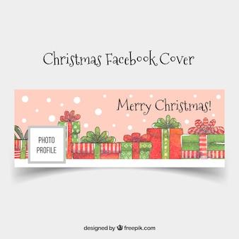 Leuk met de hand getekende facebook cover met kerstcadeaus