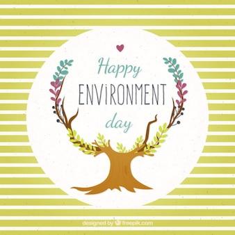 Leuk milieu dag kaart met strepen en boom