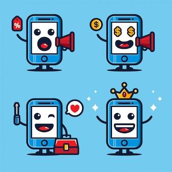 Leuk mobiel mascotteontwerp