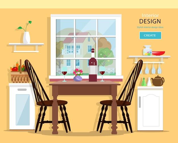 Leuk modern keukeninterieur met meubels: tafel, stoelen, kasten. illustratie.