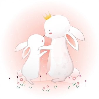 Leuk moederkonijntje met klein konijn.