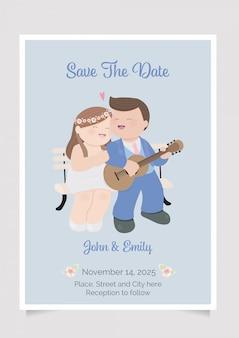 Leuk mollig paar gitaar huwelijk in uitnodiging kaartsjabloon spelen