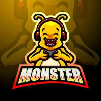 Leuk monster mascotte logo ontwerp