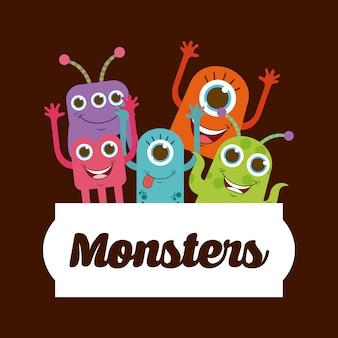 Leuk monsterontwerp, vector grafische illustratie eps10