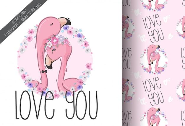 Leuk mooi flamingo naadloos patroon Premium Vector
