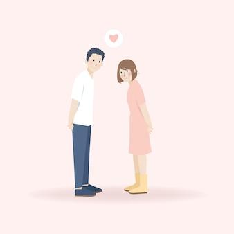 Leuk mooi jong stel dat liefdevol naar elkaar kijkt