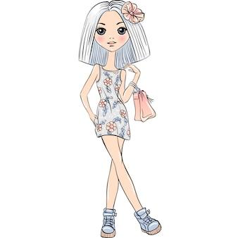 Leuk mooi meisje in jurk