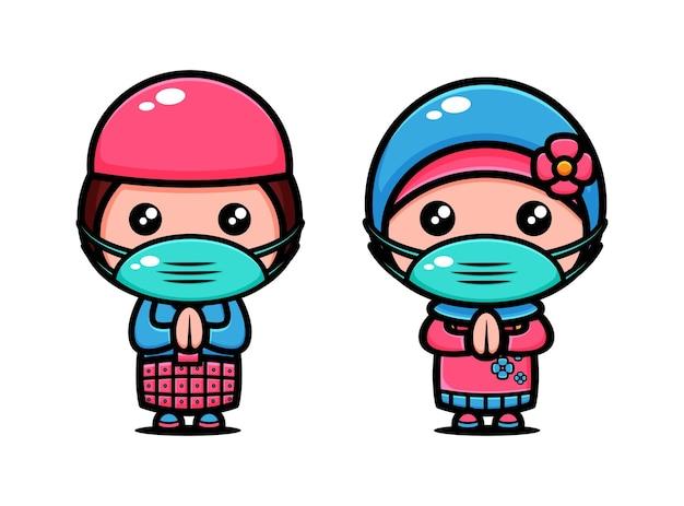 Leuk moslimkoppel draagt het masker. islamitische cartoon