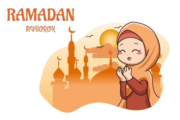 Leuk moslimmeisje bidt in de cartoonillustratie van de moskeeramadan kareem