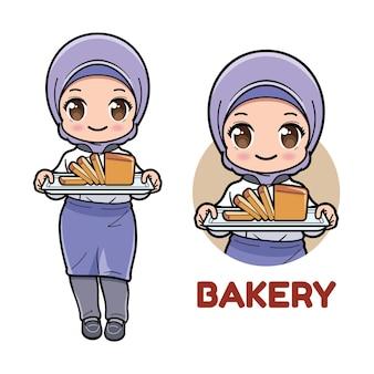Leuk moslimmeisje die brood op een dienblad voorstellen