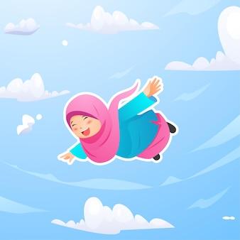 Leuk muslimah-meisje dat in de nachthemel vliegt op zoek naar laylatu al qadr ramadan