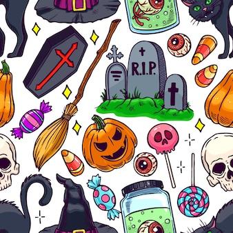 Leuk naadloos halloween-patroon van magische attributen en suikergoed. handgetekende illustratie