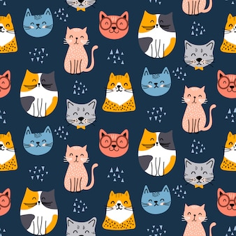 Leuk naadloos kattenpatroonontwerp