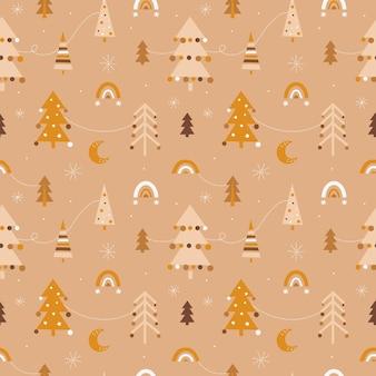 Leuk naadloos kerstpatroon in boho-stijl