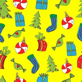 Leuk naadloos kerstpatroon in cartoonstijl sokgeschenken kerstboom