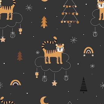 Leuk naadloos kerstpatroon met tijgers en kerstbomen