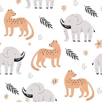 Leuk naadloos patroon met afrikaanse dieren