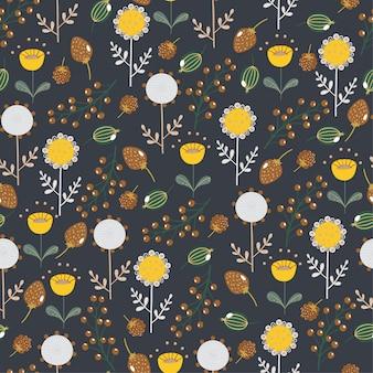 Leuk naadloos patroon met bladeren, bloemen, bessen.