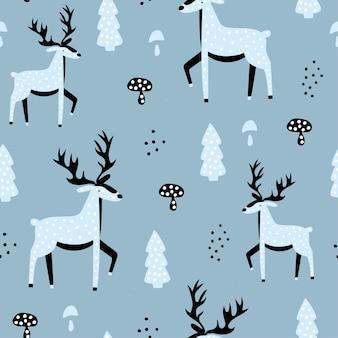 Leuk naadloos patroon met blauwe herten.