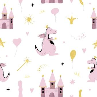 Leuk naadloos patroon met draak en kasteel.