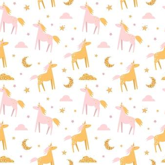 Leuk naadloos patroon met eenhoorns en regenbogen.