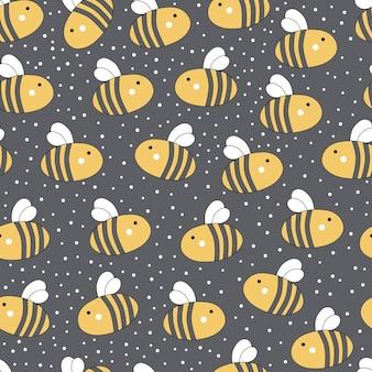 Leuk naadloos patroon met honing en bijen