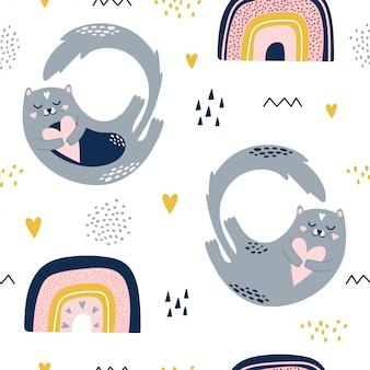 Leuk naadloos patroon met katten en regenbogen.
