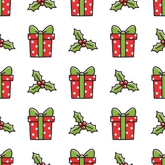 Leuk naadloos patroon met kerstdooscadeau en maretak